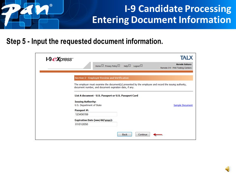 I-9 Candidate Processing Document Selection Step 4 - Select the document(s) from the appropriate drop down menu(s)