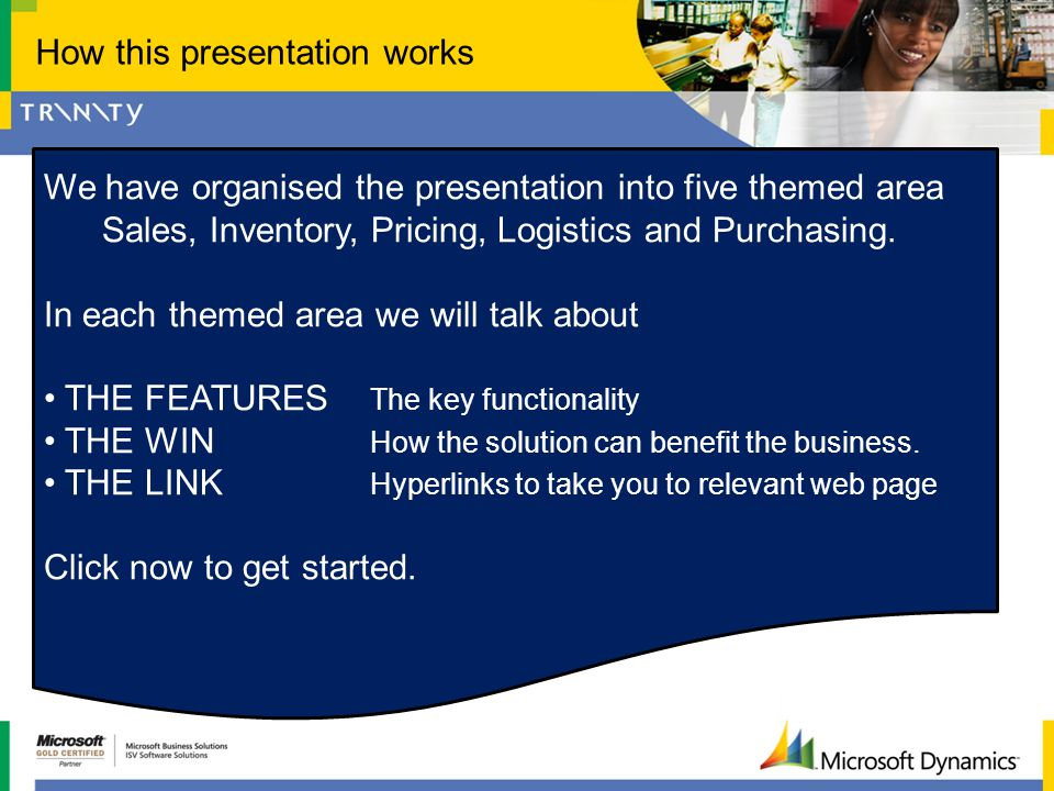 How this presentation works We have organised the presentation into five themed area Sales, Inventory, Pricing, Logistics and Purchasing. In each them