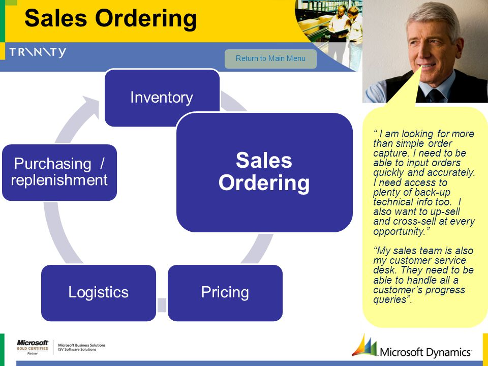 Inventory Sales Ordering PricingLogistics Purchasing / replenishment Sales Ordering I am looking for more than simple order capture. I need to be able