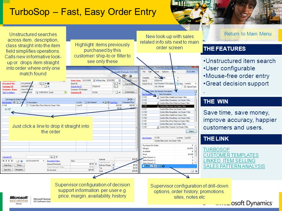 THE LINK TURBOSOP CUSTOMER TEMPLATES LINKED ITEM SELLING SALES PATTERN ANALYSIS THE FEATURES Unstructured item search User configurable Mouse-free ord