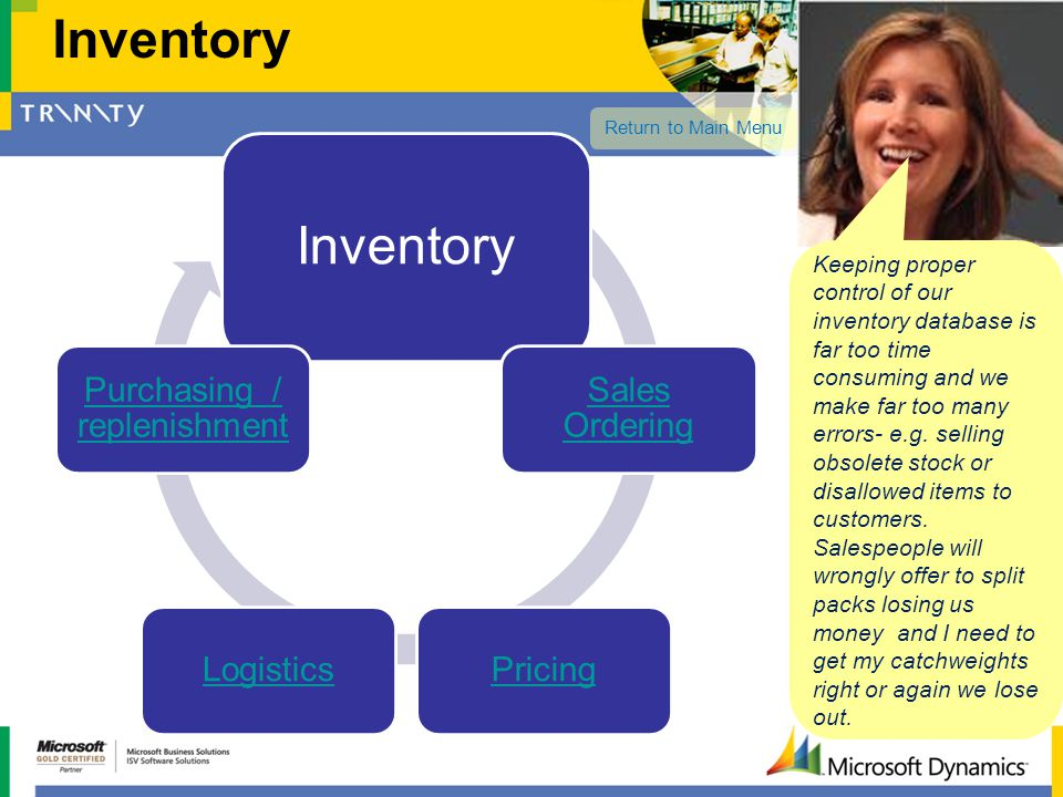 Inventory Sales Ordering PricingLogistics Purchasing / replenishment Inventory Keeping proper control of our inventory database is far too time consum