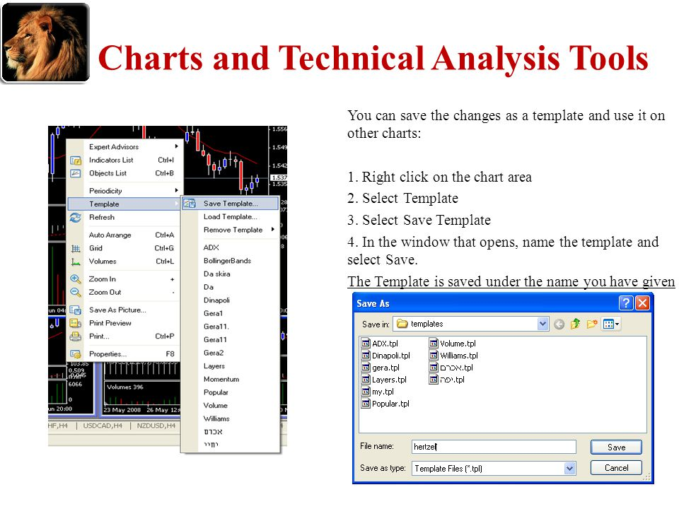 Charts and Technical Analysis Tools You can save the changes as a template and use it on other charts: 1. Right click on the chart area 2. Select Temp