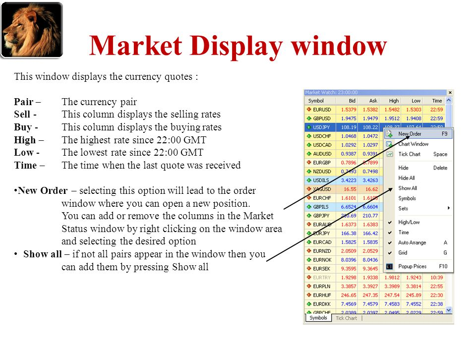 Market Display window This window displays the currency quotes : Pair – The currency pair Sell - This column displays the selling rates Buy - This col