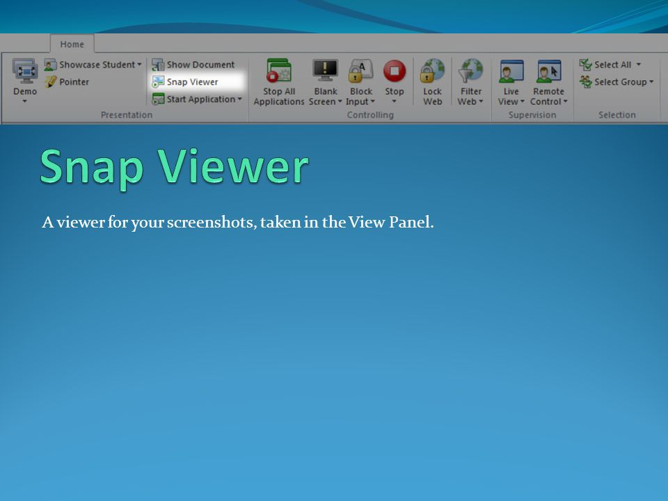 A viewer for your screenshots, taken in the View Panel.