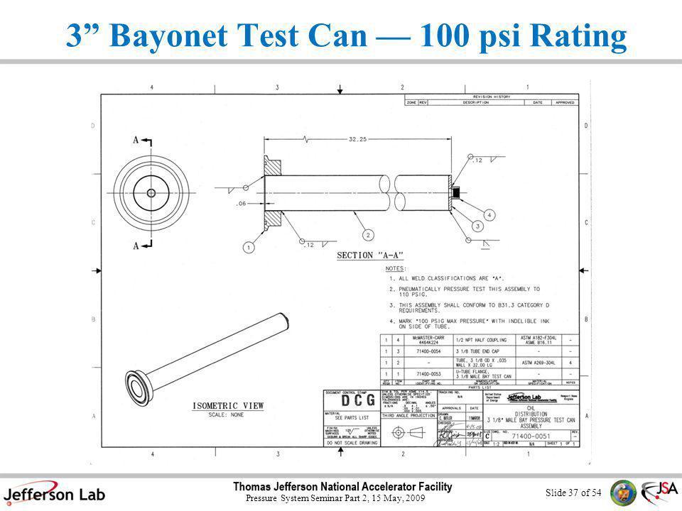 Slide 36 of 54 Pressure System Seminar Part 2, 15 May, 2009 3 Male Bayonet