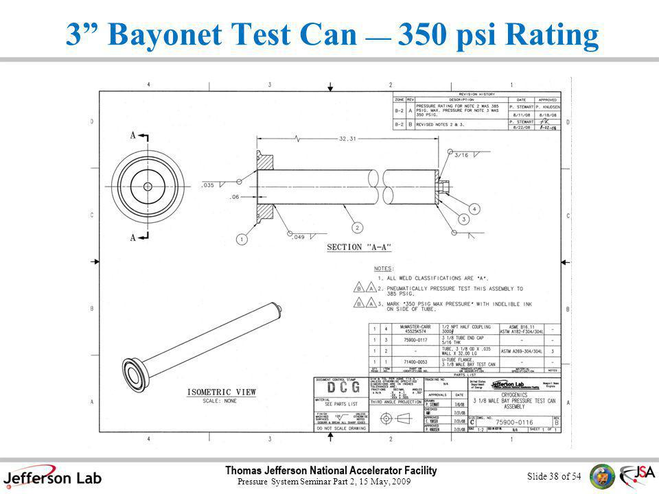 Slide 37 of 54 Pressure System Seminar Part 2, 15 May, 2009 3 Bayonet Test Can 100 psi Rating