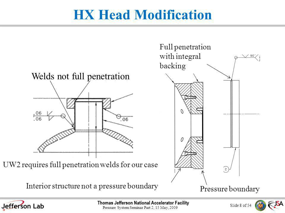 Slide 8 of 54 Pressure System Seminar Part 2, 15 May, 2009 HX Head Modification Welds not full penetration Interior structure not a pressure boundary Pressure boundary UW2 requires full penetration welds for our case Full penetration with integral backing