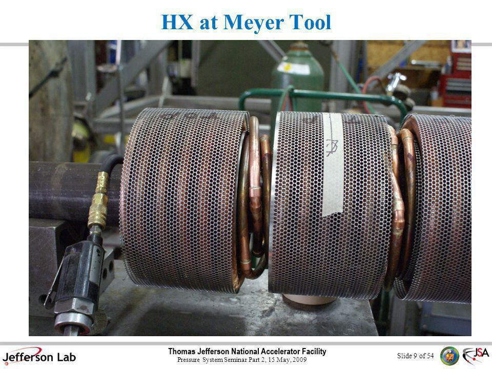 Slide 9 of 54 Pressure System Seminar Part 2, 15 May, 2009 HX at Meyer Tool