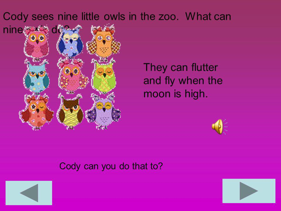 Cody sees nine little owls in the zoo.What can nine owls do.