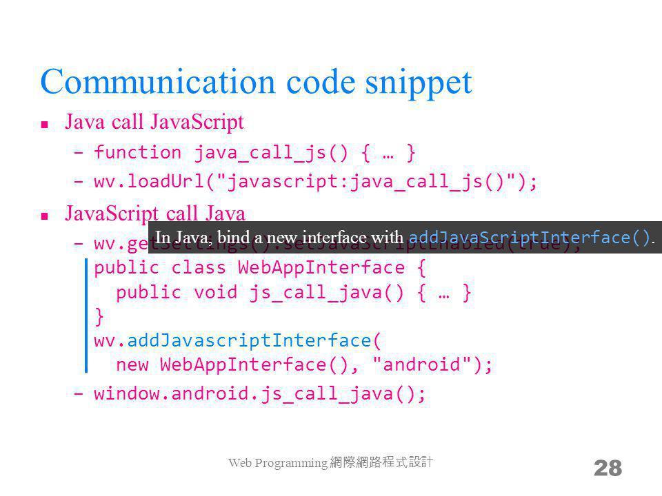 Communication code snippet Java call JavaScript –function java_call_js() { … } –wv.loadUrl(