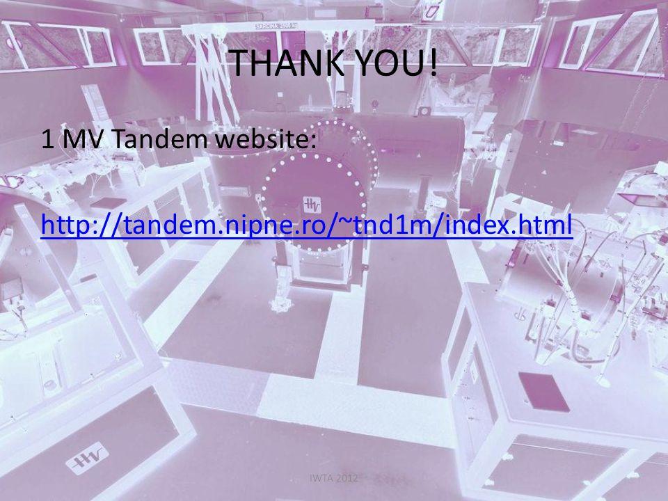 THANK YOU! 1 MV Tandem website: http://tandem.nipne.ro/~tnd1m/index.html IWTA 2012