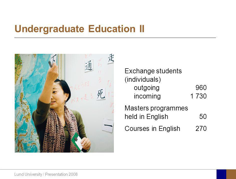 Lund University / Presentation 2008 Undergraduate Education II Exchange students (individuals) outgoing960 incoming1 730 Masters programmes held in En