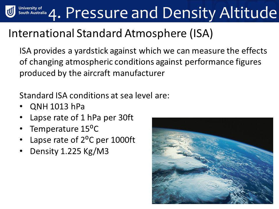 4. Pressure and Density Altitude ISA provides a yardstick against which we can measure the effects of changing atmospheric conditions against performa