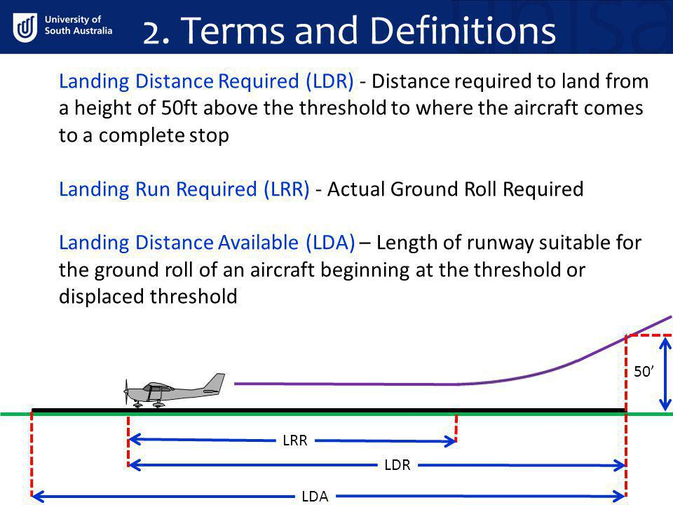 2. Terms and Definitions Landing Distance Required (LDR) - Distance required to land from a height of 50ft above the threshold to where the aircraft c