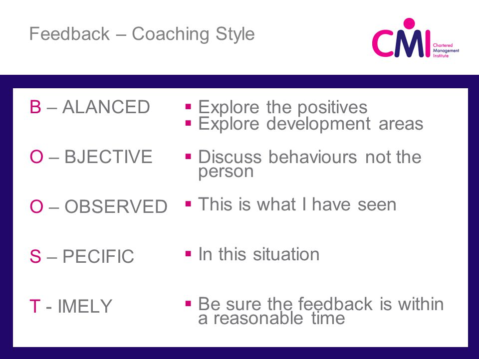 Feedback – Coaching Style B – ALANCED O – BJECTIVE O – OBSERVED S – PECIFIC T - IMELY Explore the positives Explore development areas Discuss behaviours not the person This is what I have seen In this situation Be sure the feedback is within a reasonable time