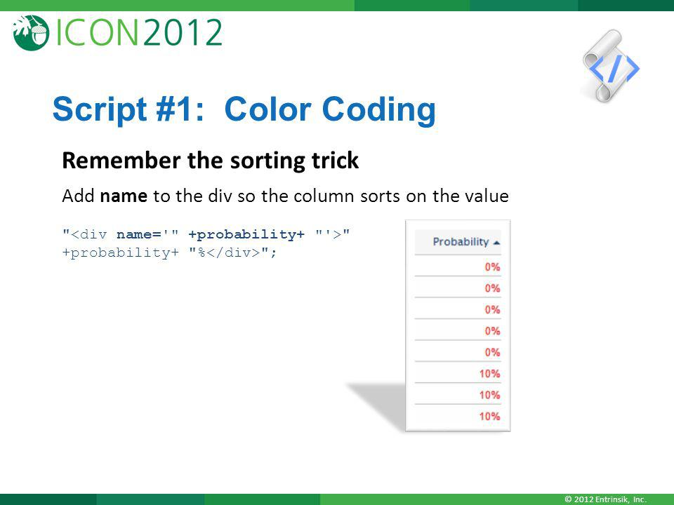 © 2012 Entrinsik, Inc. Script #1: Color Coding Remember the sorting trick Add name to the div so the column sorts on the value
