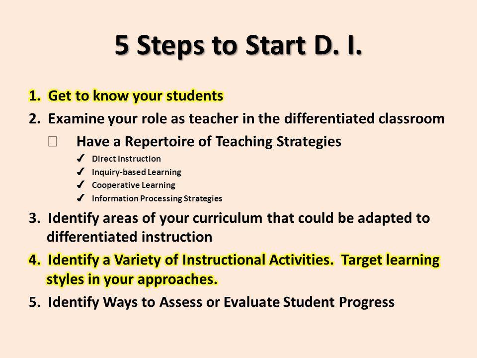 5 Steps to Start D. I.
