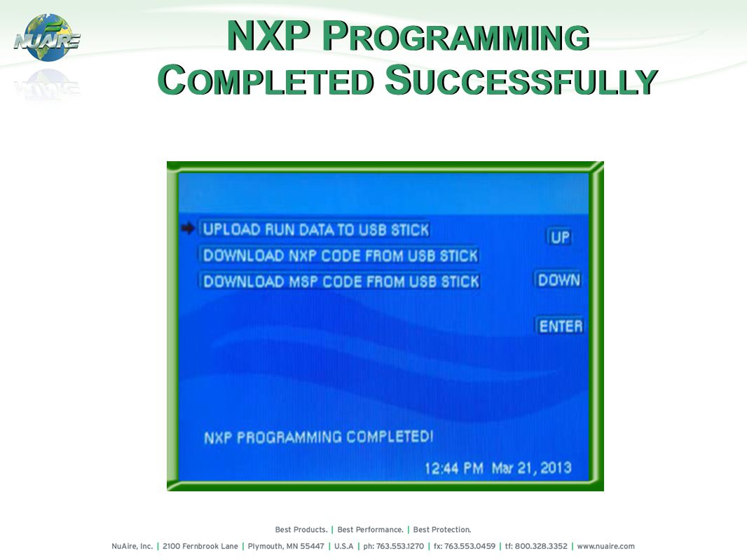 NXP P ROGRAMMING C OMPLETED S UCCESSFULLY NXP P ROGRAMMING C OMPLETED S UCCESSFULLY