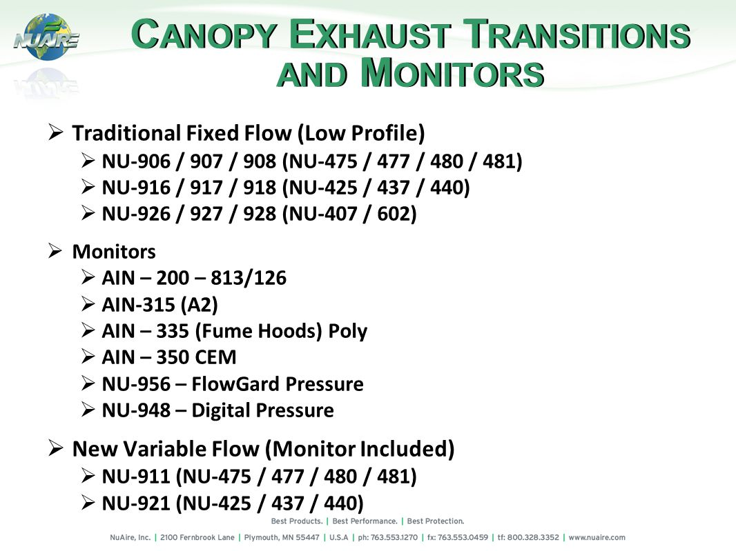 C ANOPY E XHAUST T RANSITIONS AND M ONITORS Traditional Fixed Flow (Low Profile) NU-906 / 907 / 908 (NU-475 / 477 / 480 / 481) NU-916 / 917 / 918 (NU-425 / 437 / 440) NU-926 / 927 / 928 (NU-407 / 602) Monitors AIN – 200 – 813/126 AIN-315 (A2) AIN – 335 (Fume Hoods) Poly AIN – 350 CEM NU-956 – FlowGard Pressure NU-948 – Digital Pressure New Variable Flow (Monitor Included) NU-911 (NU-475 / 477 / 480 / 481) NU-921 (NU-425 / 437 / 440)