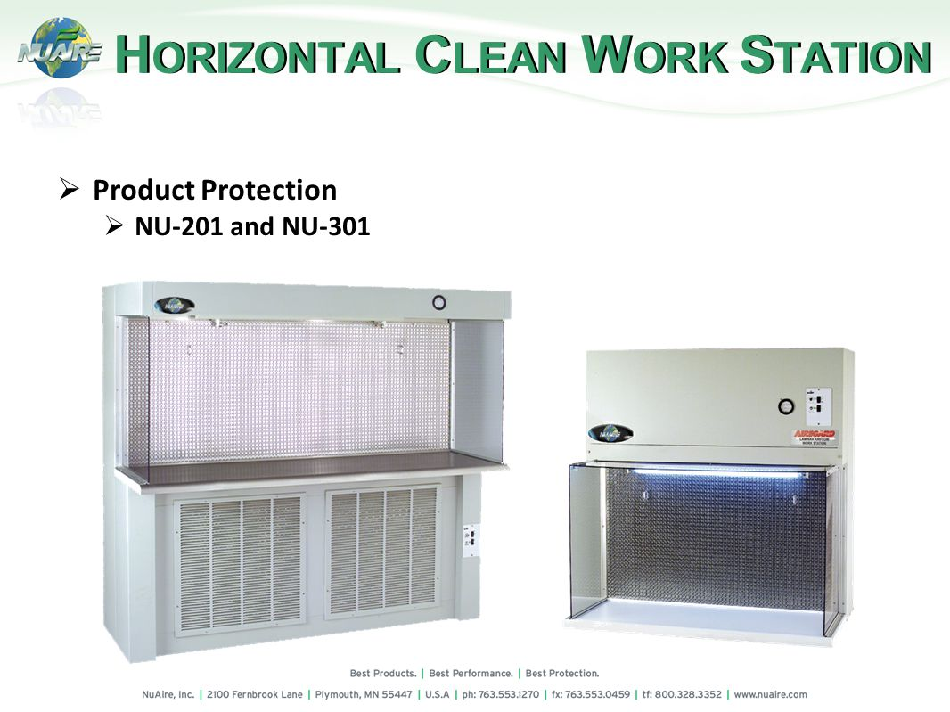 H ORIZONTAL C LEAN W ORK S TATION Product Protection NU-201 and NU-301