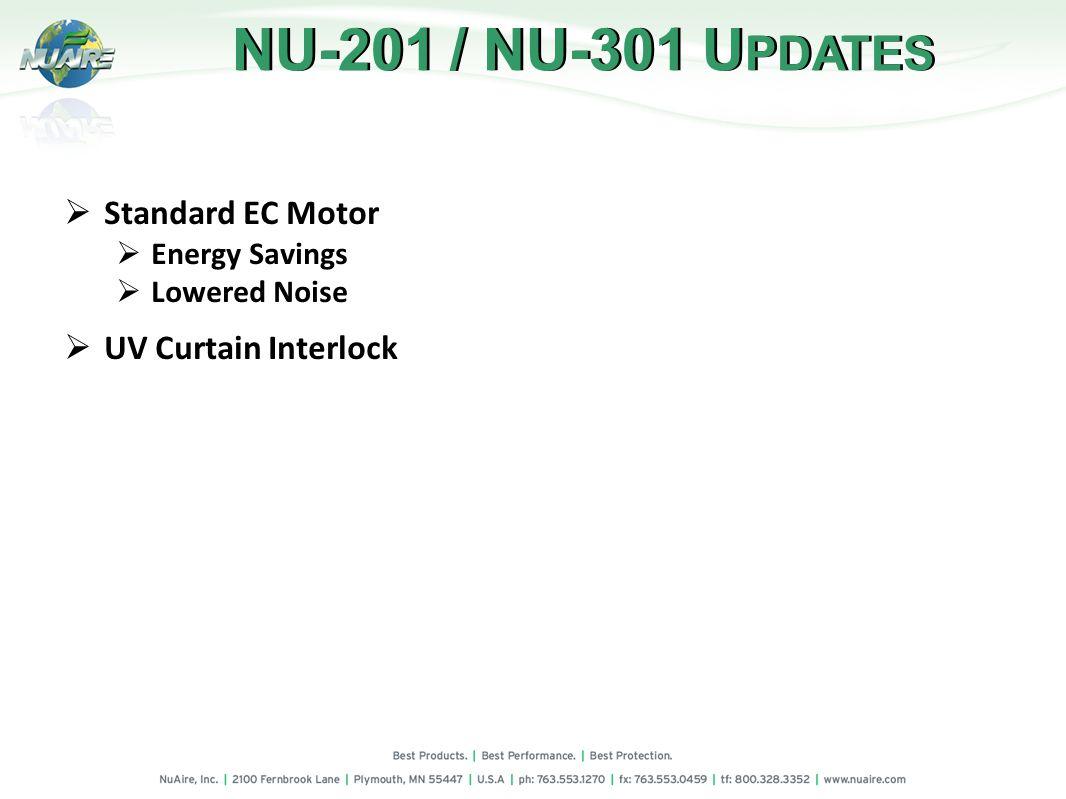 Standard EC Motor Energy Savings Lowered Noise UV Curtain Interlock NU-201 / NU-301 U PDATES