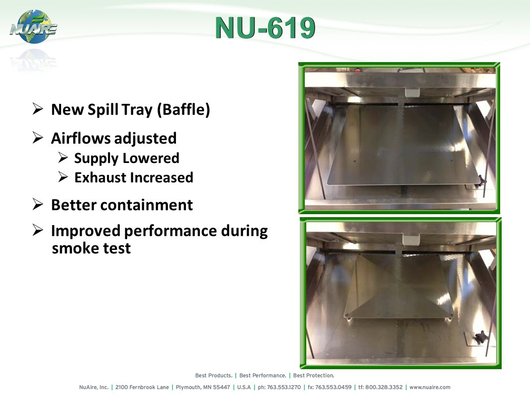 New Spill Tray (Baffle) Airflows adjusted Supply Lowered Exhaust Increased Better containment Improved performance during smoke test NU-619