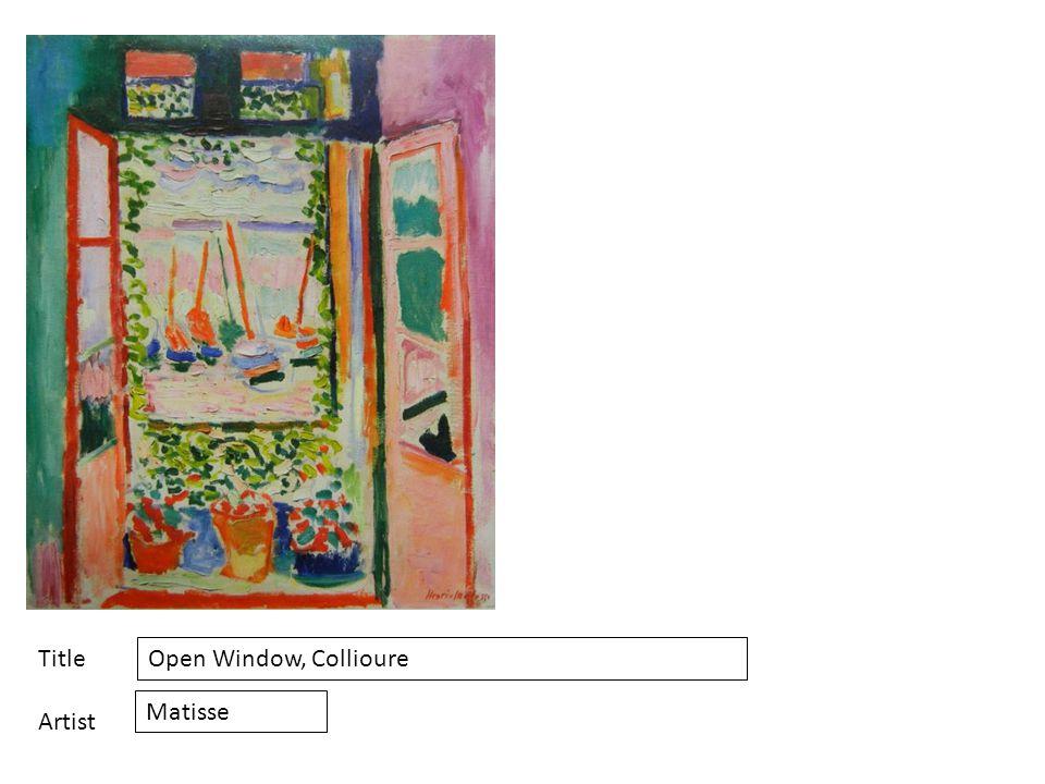 Title Artist Open Window, Collioure Matisse