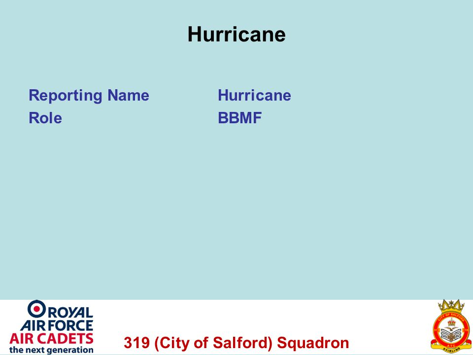 319 (City of Salford) Squadron Hurricane Reporting NameHurricane RoleBBMF