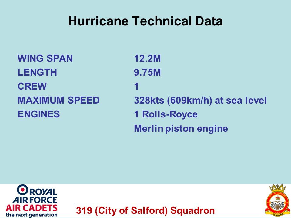 319 (City of Salford) Squadron Hurricane Technical Data WING SPAN 12.2M LENGTH 9.75M CREW 1 MAXIMUM SPEED328kts (609km/h) at sea level ENGINES 1 Rolls-Royce Merlin piston engine