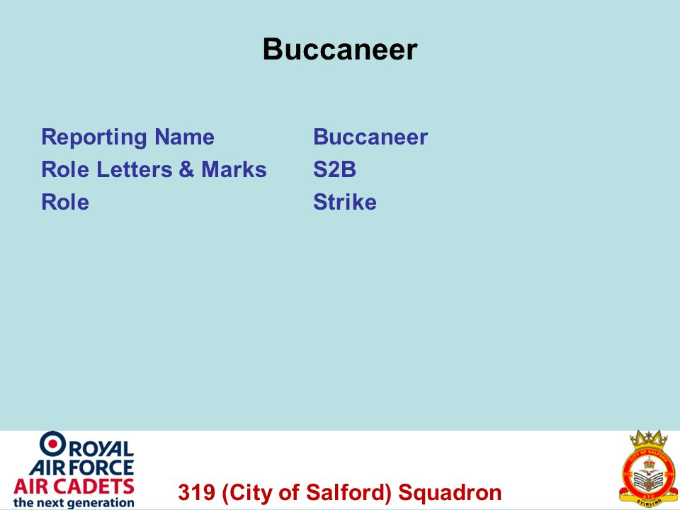 319 (City of Salford) Squadron Buccaneer Reporting NameBuccaneer Role Letters & Marks S2B RoleStrike