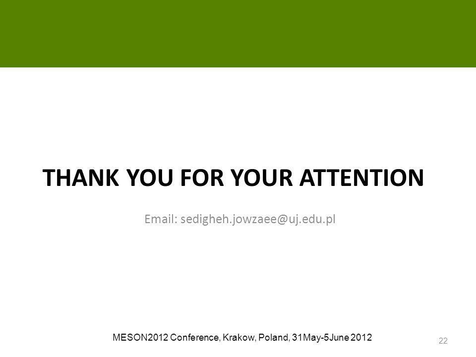 Email: sedigheh.jowzaee@uj.edu.pl THANK YOU FOR YOUR ATTENTION MESON2012 Conference, Krakow, Poland, 31May-5June 2012 22