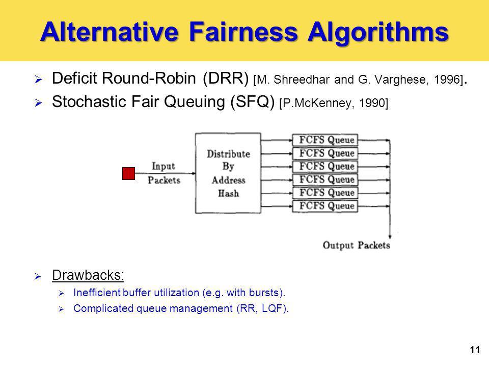 11 Alternative Fairness Algorithms Deficit Round-Robin (DRR) [M.