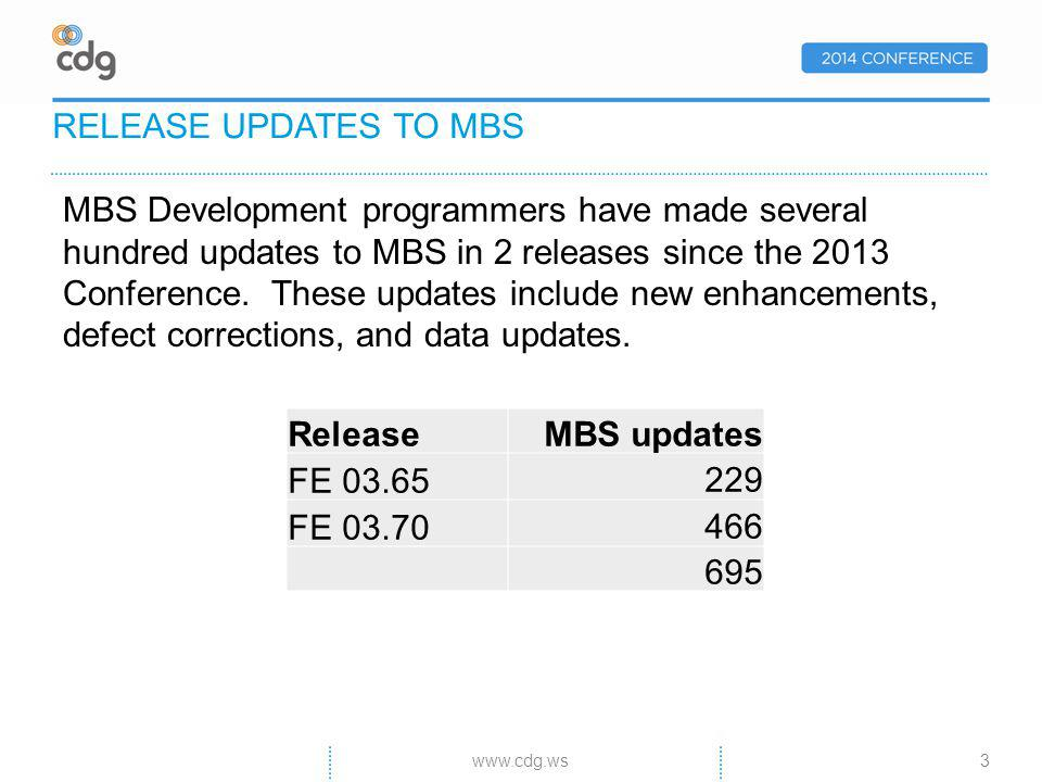 MBS Development programmers have made several hundred updates to MBS in 2 releases since the 2013 Conference.