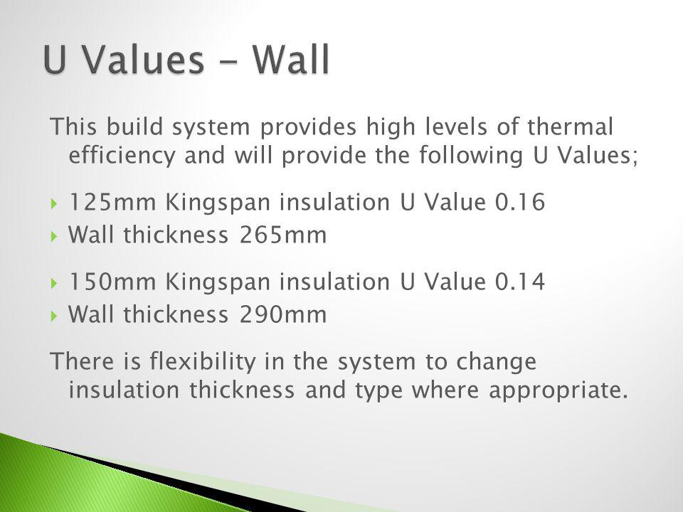 This build system provides high levels of thermal efficiency and will provide the following U Values; 125mm Kingspan insulation U Value 0.16 Wall thickness 265mm 150mm Kingspan insulation U Value 0.14 Wall thickness 290mm
