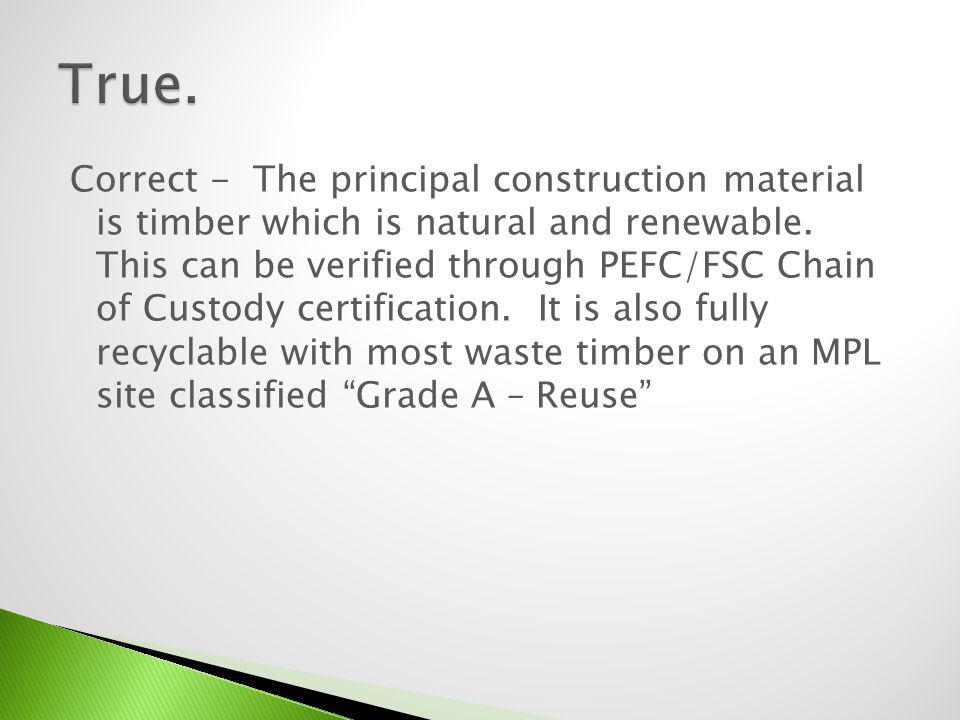 Are you sure.The principal construction material is timber which is natural and renewable.