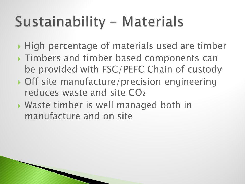 High percentage of materials used are timber Timbers can be provided with FSC/PEFC Chain of custody Off site manufacture/precision engineering reduces waste and site CO
