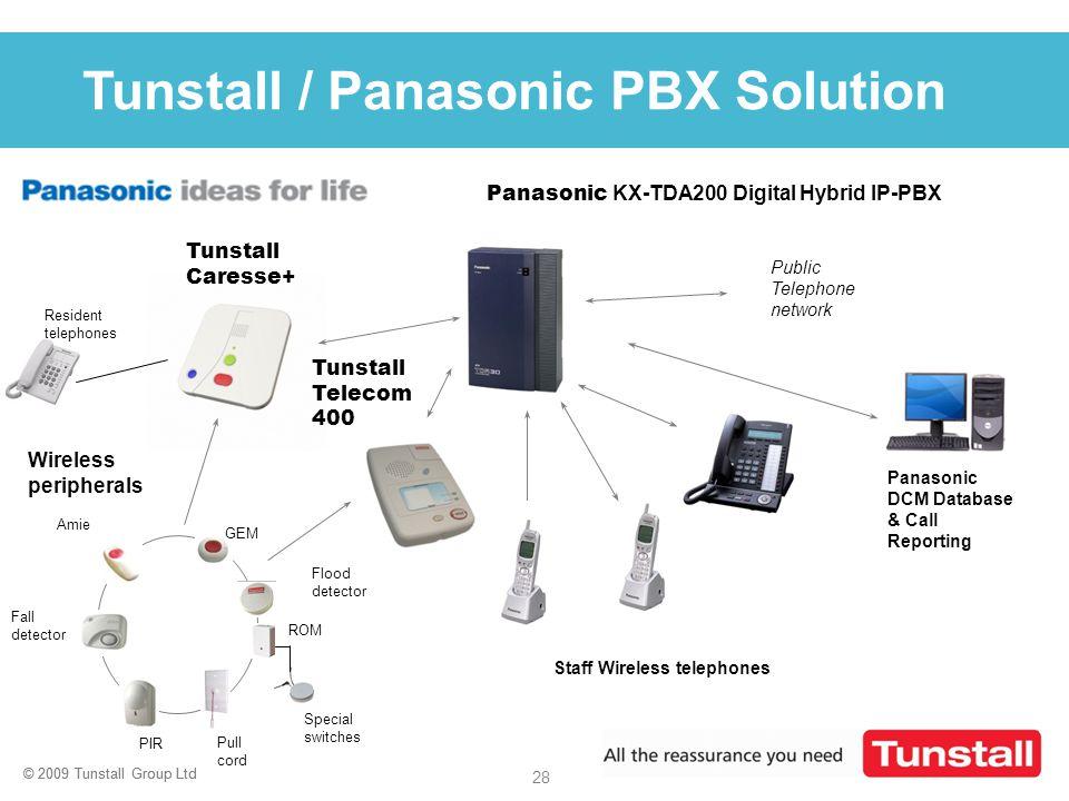 © 2009 Tunstall Group Ltd 28 © 2009 Tunstall Group Ltd Click to edit Master title style Staff Wireless telephones Panasonic KX-TDA200 Digital Hybrid I