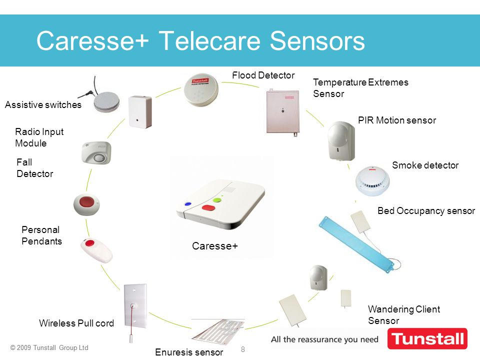 © 2009 Tunstall Group Ltd 8 Click to edit Master title style Flood Detector PIR Motion sensor Temperature Extremes Sensor Radio Input Module Fall Dete
