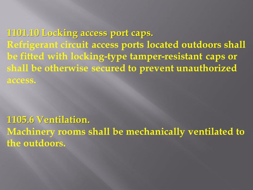 1101.10 Locking access port caps. Refrigerant circuit access ports located outdoors shall be fitted with locking-type tamper-resistant caps or shall b