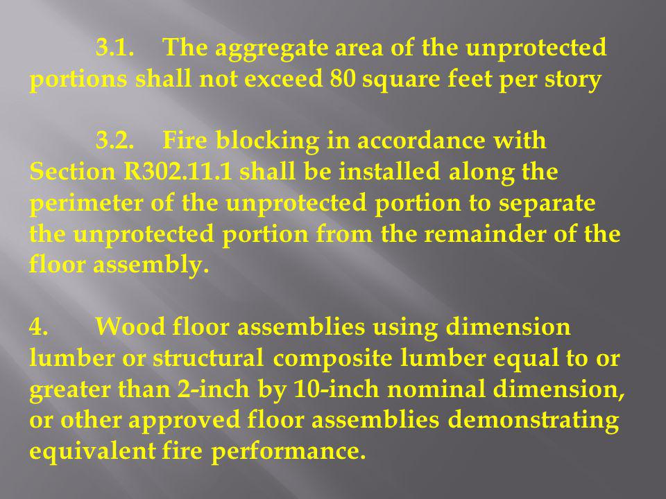 3.1.The aggregate area of the unprotected portions shall not exceed 80 square feet per story 3.2.Fire blocking in accordance with Section R302.11.1 sh