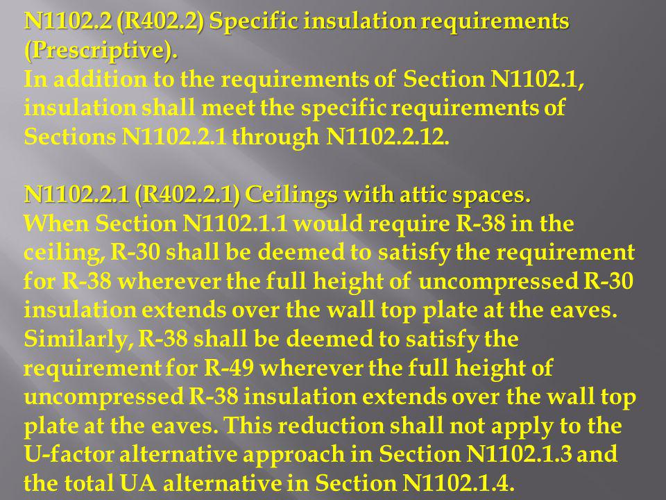 N1102.2 (R402.2) Specific insulation requirements (Prescriptive). In addition to the requirements of Section N1102.1, insulation shall meet the specif