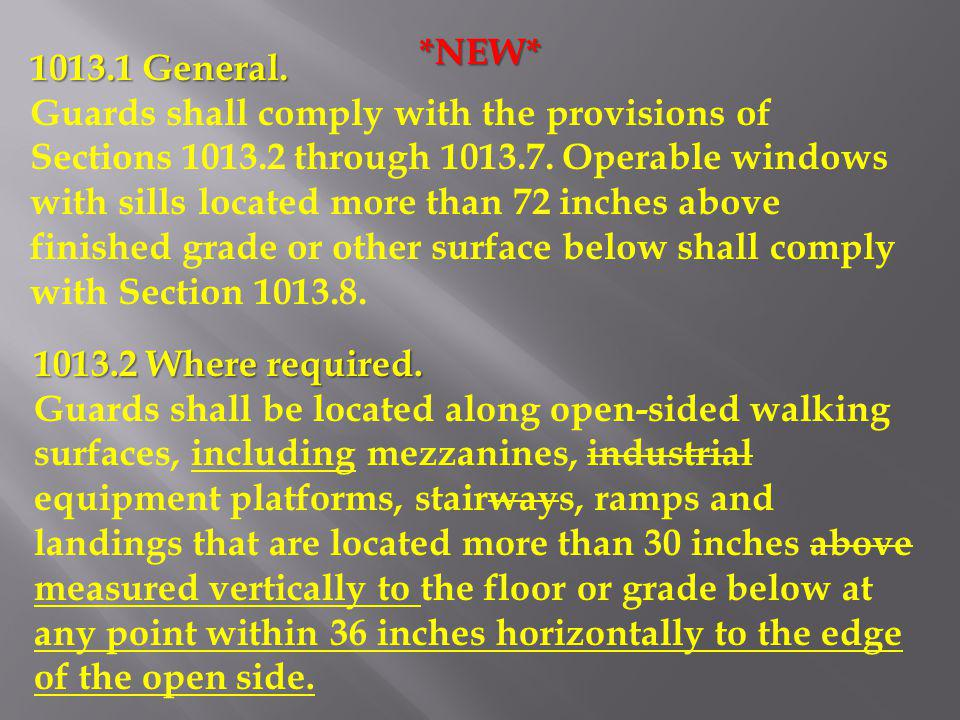 1013.1 General. Guards shall comply with the provisions of Sections 1013.2 through 1013.7. Operable windows with sills located more than 72 inches abo