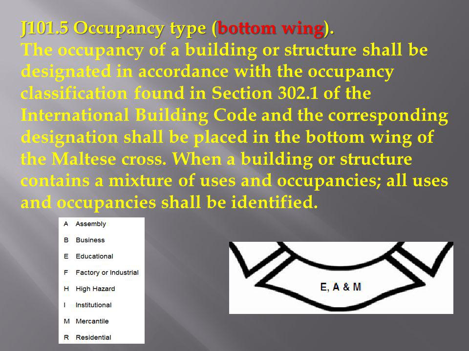 J101.5 Occupancy type (bottom wing). The occupancy of a building or structure shall be designated in accordance with the occupancy classification foun