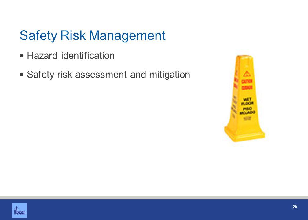 25 Safety Risk Management Hazard identification Safety risk assessment and mitigation