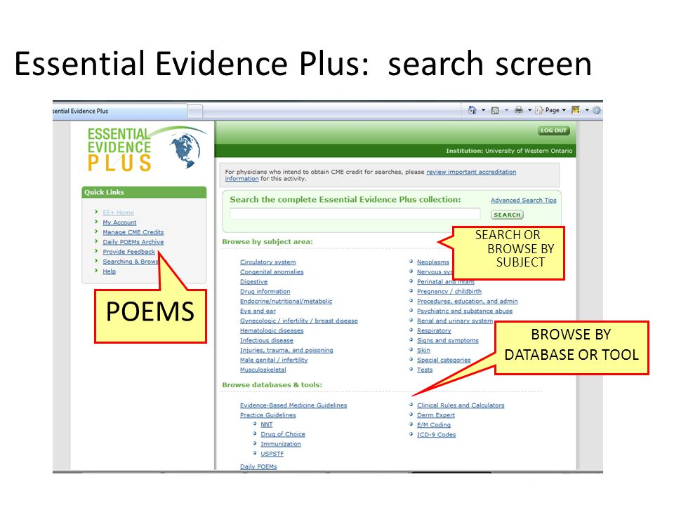 Essential Evidence Plus: search screen BROWSE BY DATABASE OR TOOL SEARCH OR BROWSE BY SUBJECT POEMS