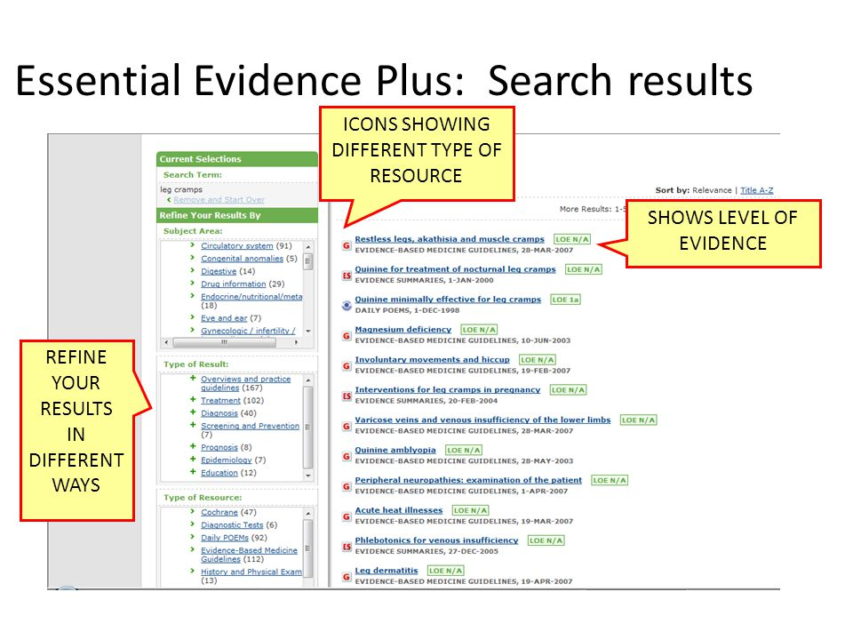 Essential Evidence Plus: Search results ICONS SHOWING DIFFERENT TYPE OF RESOURCE SHOWS LEVEL OF EVIDENCE REFINE YOUR RESULTS IN DIFFERENT WAYS