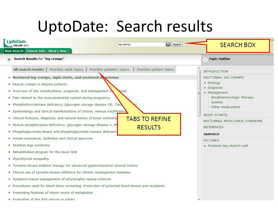 UptoDate: Search results TABS TO REFINE RESULTS SEARCH BOX