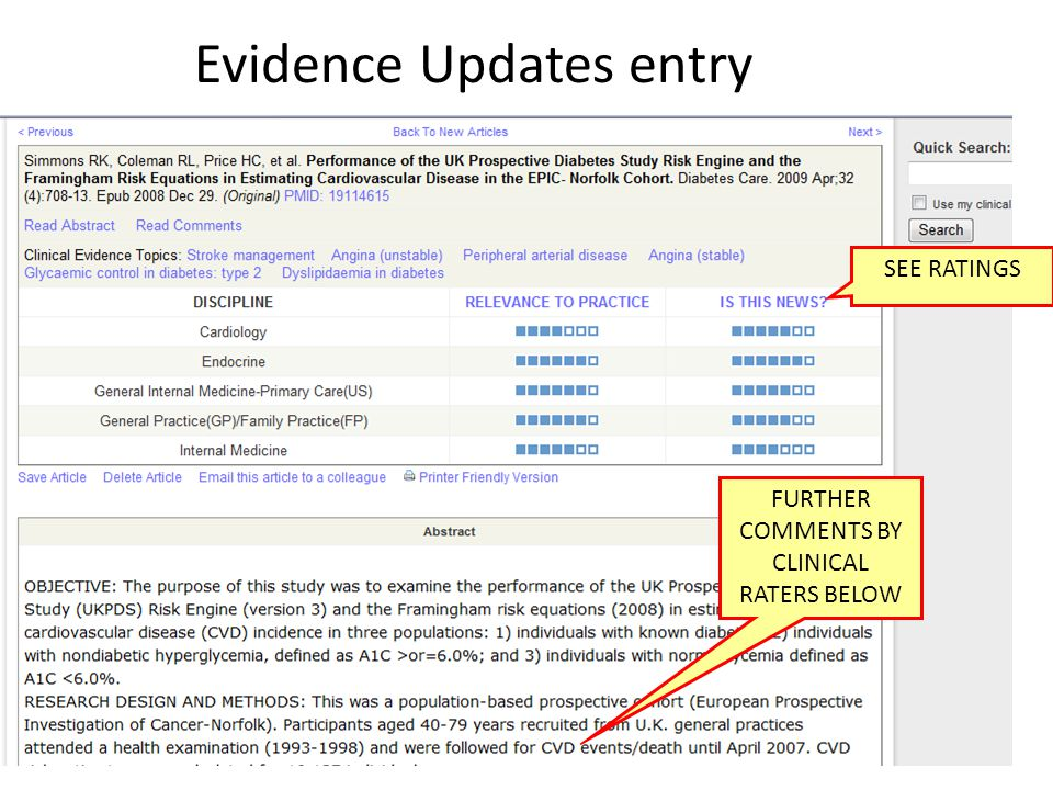 SEE RATINGS FURTHER COMMENTS BY CLINICAL RATERS BELOW Evidence Updates entry
