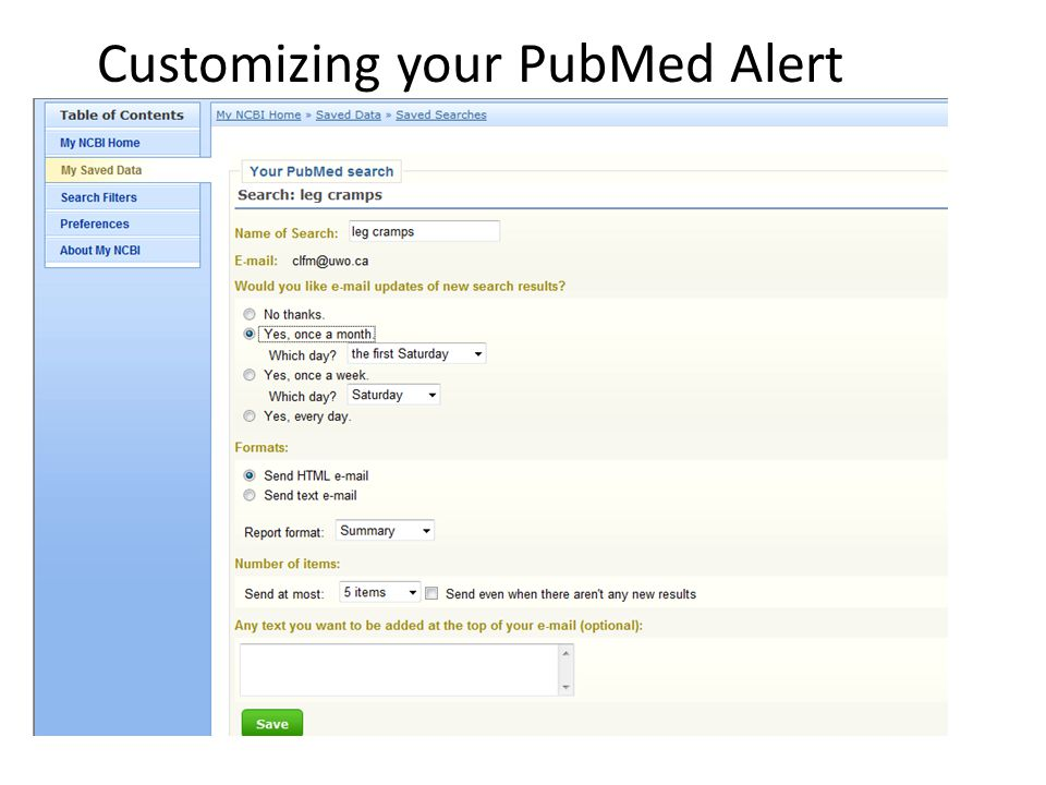 Customizing your PubMed Alert