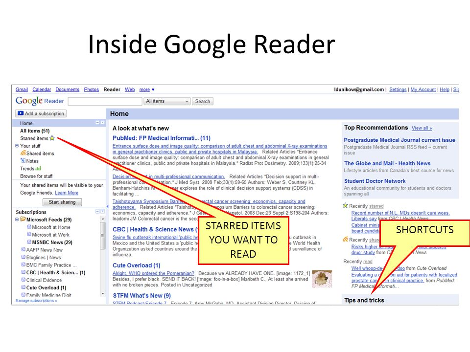 Inside Google Reader STARRED ITEMS YOU WANT TO READ SHORTCUTS